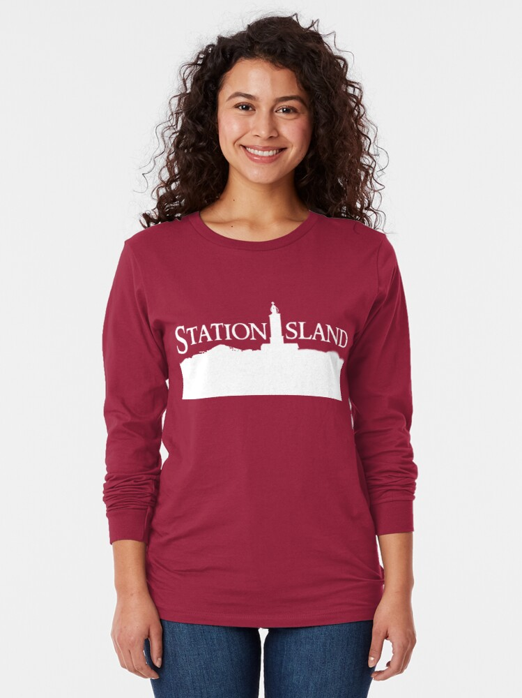 Alternate view of Station Island - Logo White Long Sleeve T-Shirt