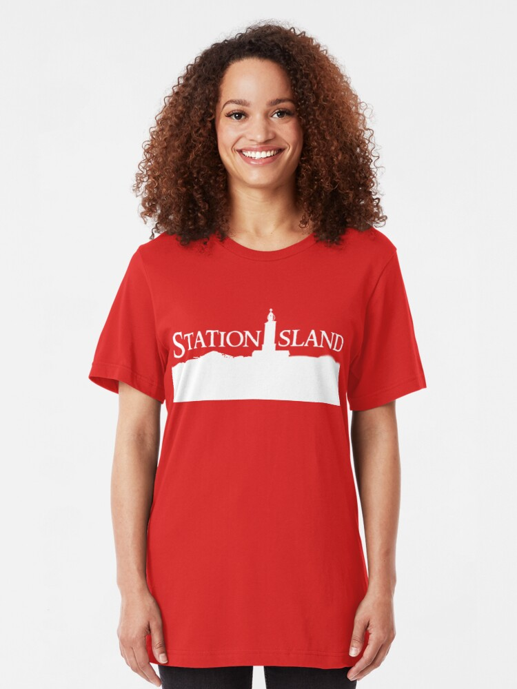 Alternate view of Station Island - Logo White Slim Fit T-Shirt