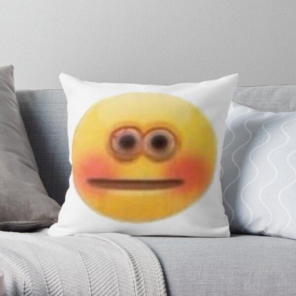 Blushing Face Emoji Pillows & Cushions