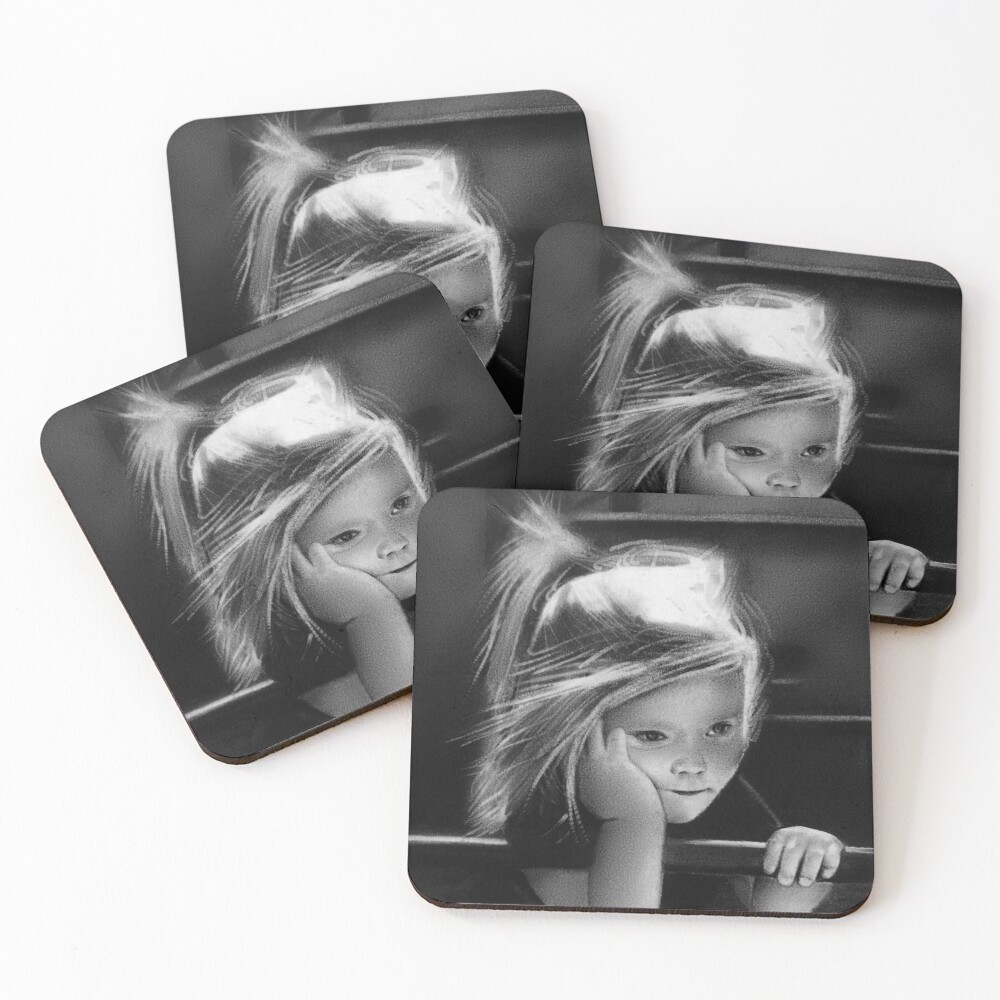 That one childhood playground that got torn down/you never saw again (charcoal drawing) Coasters (Set of 4)