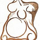 brown abstract goddess by Nadine May Lewis