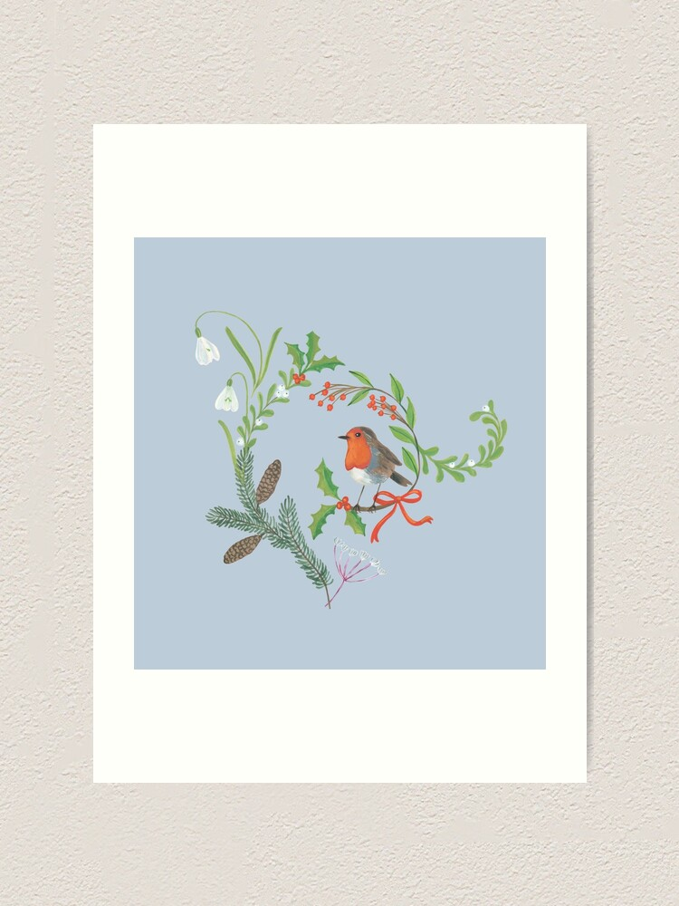 Alternate view of Christmas Chintz with Robin - Traditional chintz by Cecca Designs Art Print