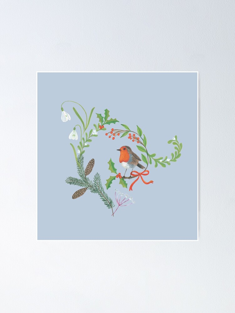 Alternate view of Christmas Chintz with Robin - Traditional chintz by Cecca Designs Poster