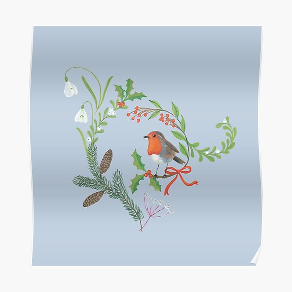 Christmas Chintz with Robin - Traditional chintz by Cecca Designs Poster
