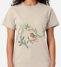 Christmas Chintz with Robin - Traditional chintz by Cecca Designs Classic T-Shirt