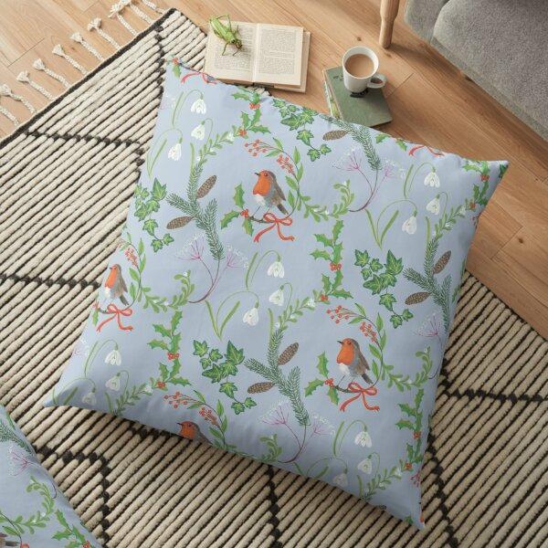 Christmas Chintz with Robin - Traditional chintz by Cecca Designs Floor Pillow