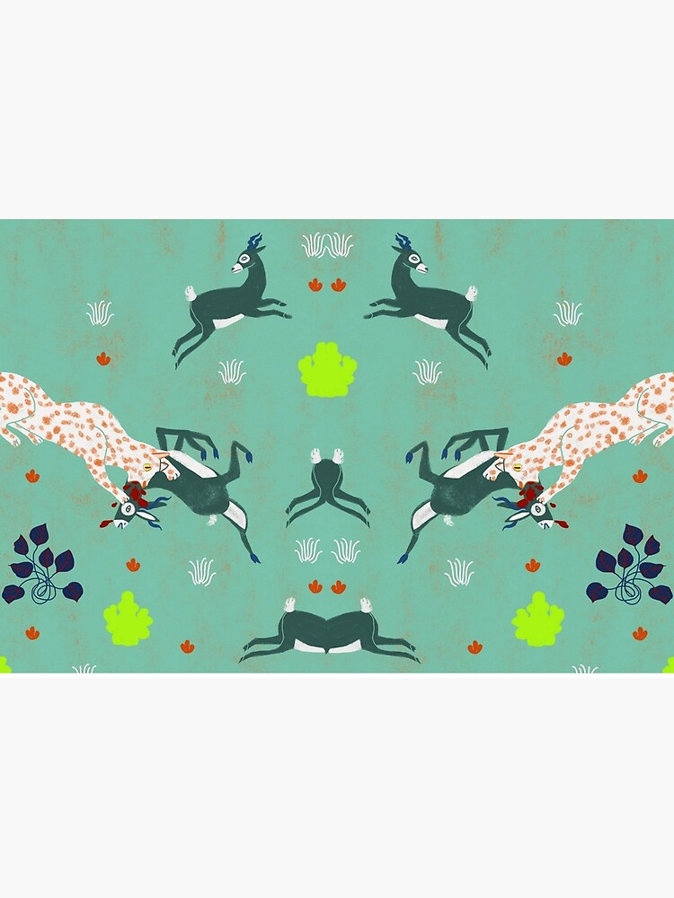 animal forest illustration/jaguars and gazzelle/ savana  nature poster by spoto