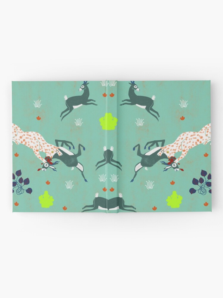 Alternate view of animal forest illustration/jaguars and gazzelle/ savana  nature poster Hardcover Journal