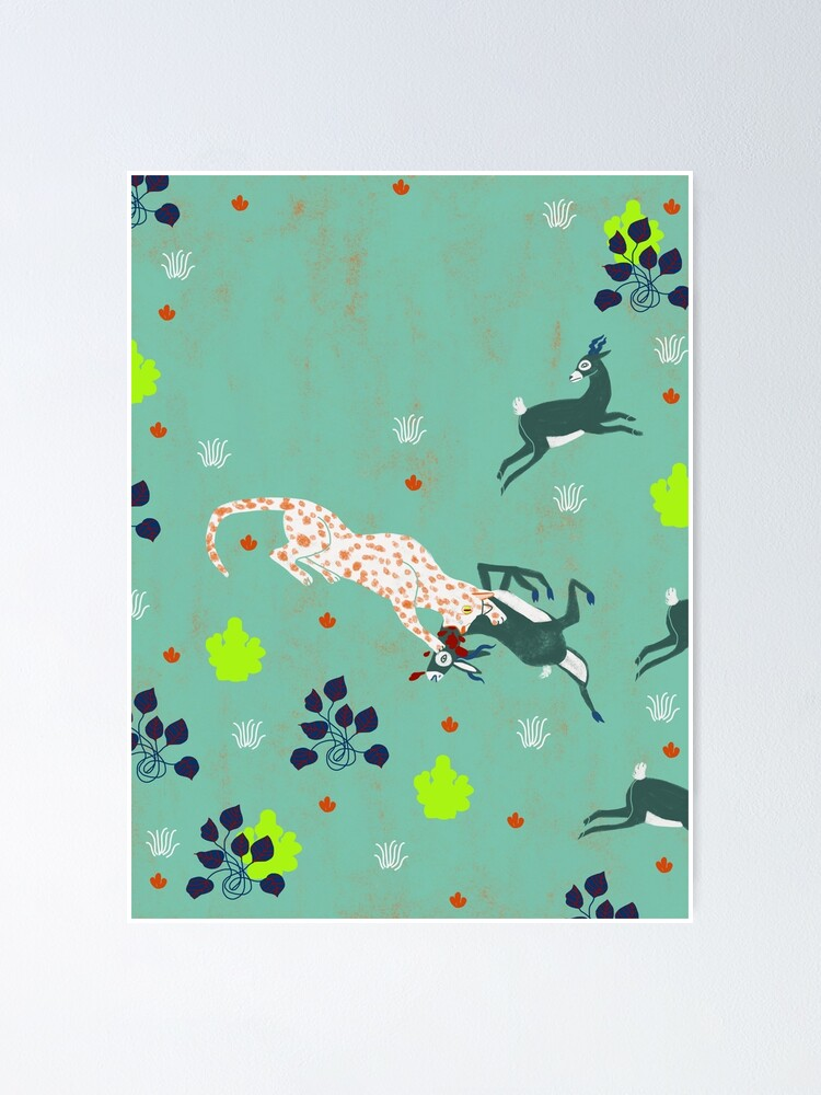Alternate view of animal forest illustration/jaguars and gazzelle/ savana  nature poster Poster
