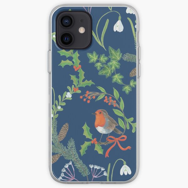 Christmas Chintz with Robin - dark blue Traditional chintz by Cecca Designs iPhone Soft Case