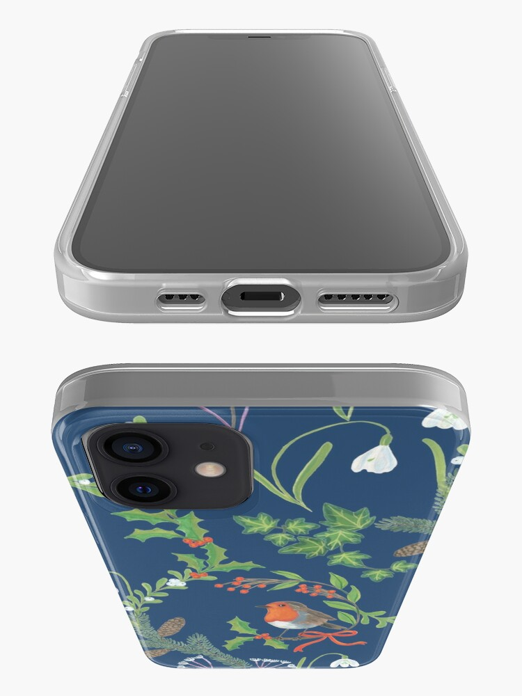 Alternate view of Christmas Chintz with Robin - dark blue Traditional chintz by Cecca Designs iPhone Case & Cover
