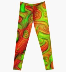 Green and red abstraction Leggings