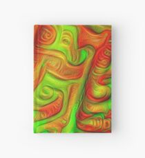 Green and red abstraction Hardcover Journal