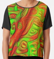 Green and red abstraction Chiffon Top