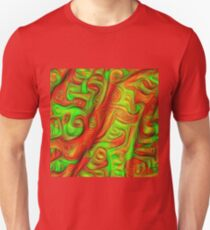 Green and red abstraction Slim Fit T-Shirt