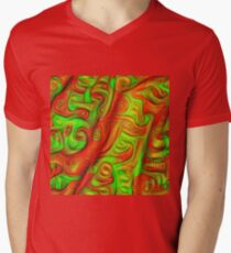 Green and red abstraction V-Neck T-Shirt