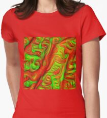 Green and red abstraction Fitted T-Shirt