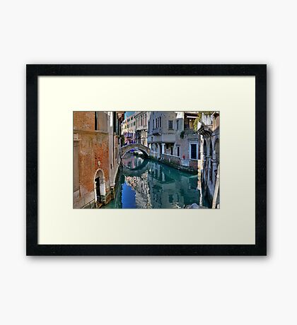 Rio and Bridge de Ca' Widman - Venice Framed Print