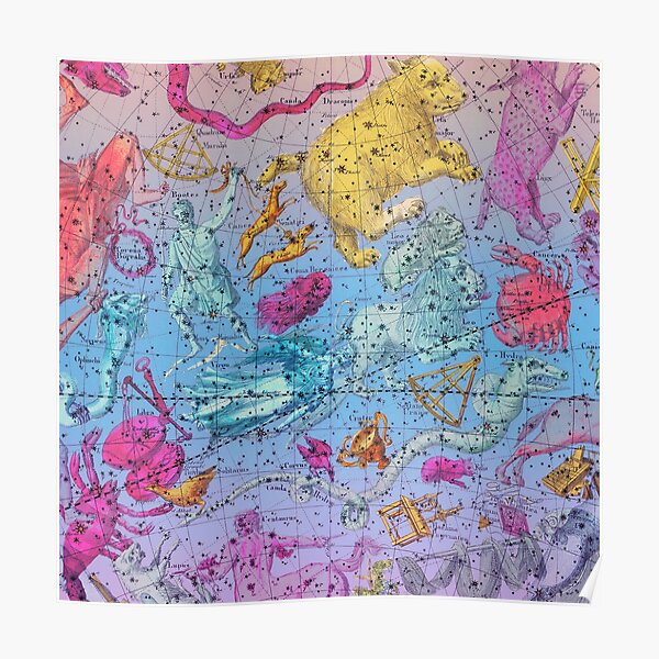 Pastel Zodiac - Vintage Astral Constellations  Poster