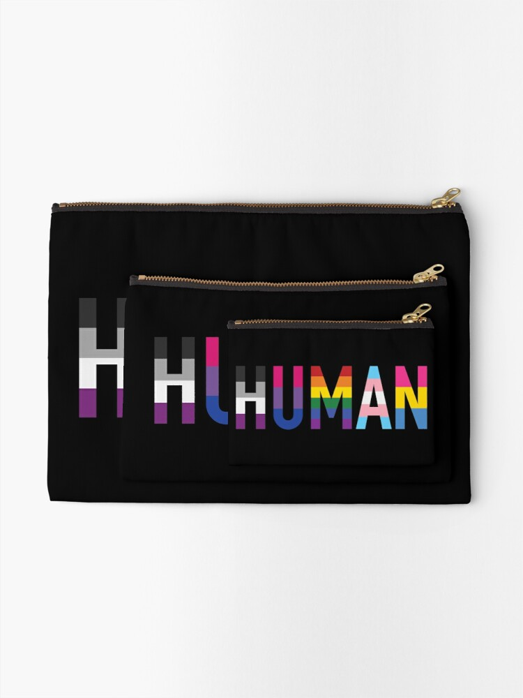 Alternate view of Human, Various Queer Flags 1 Zipper Pouch