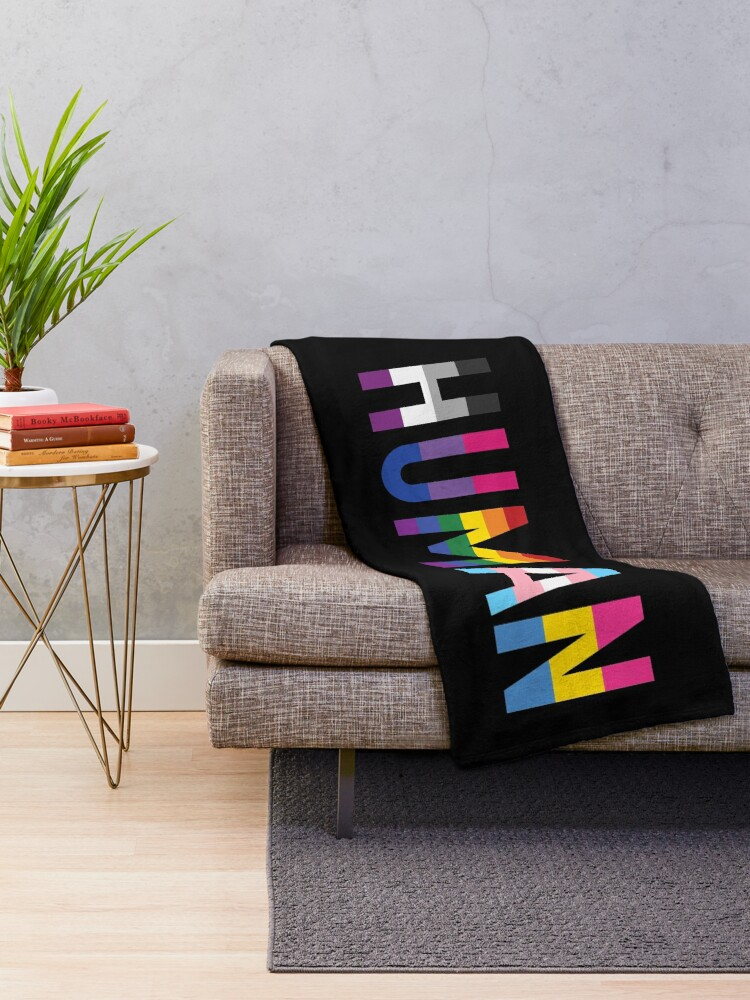 Alternate view of Human, Various Queer Flags 1 Throw Blanket