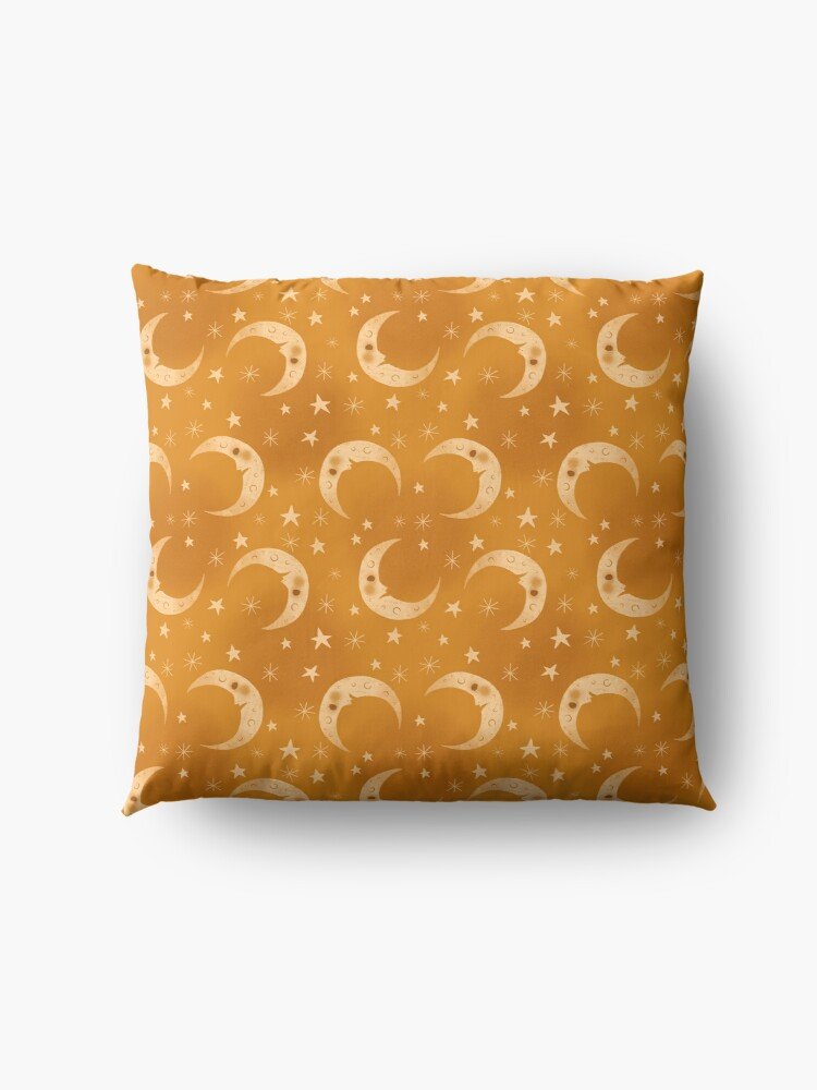 Alternate view of Yellow Moons and Stars Floor Pillow