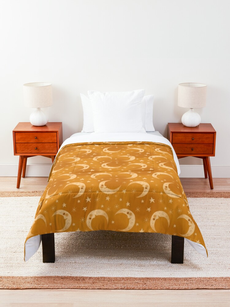 Alternate view of Yellow Moons and Stars Comforter