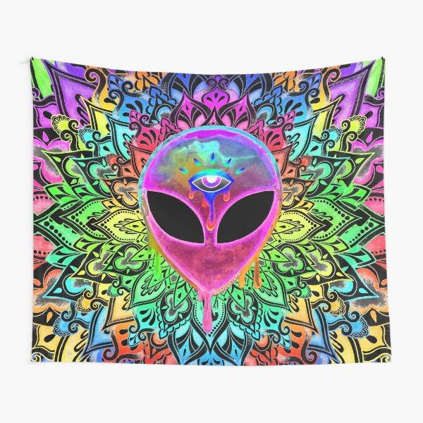 PsyAlien Mandala - pink Tapestry