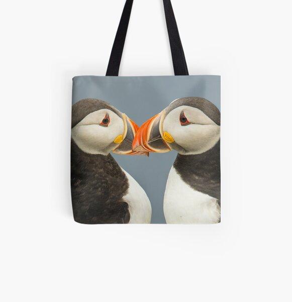 Pair of Atlantic Puffins All Over Print Tote Bag