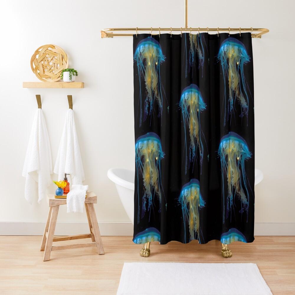 Juvenile Jelly on Black Shower Curtain