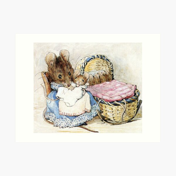 Hunca Munca and her Babies - Tale of Two Bad Mice - Beatrix Potter Art Print
