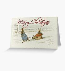 Christmas Rabbits Sledding - Beatrix Potter Greeting Card