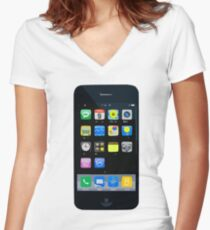 Apps & Icons Women's Fitted V-Neck T-Shirt
