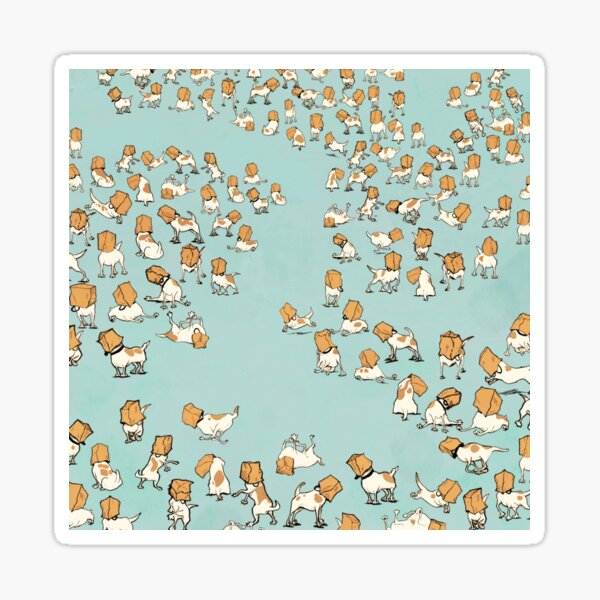 20000 Jack Russells with bags on their heads Sticker