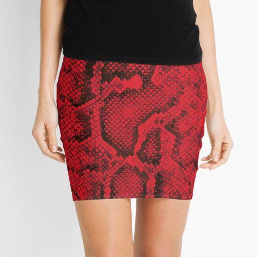 Red Snakeskin  Mini Skirt