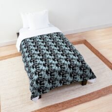 Cool Cat Graphic ~ black, blue and lavender Comforter