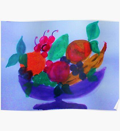 Fruit Bowl, watercolor Poster