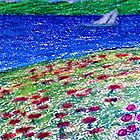 Dream Of Sailboat Standing In Heaven Roses Water Green Grass Mountains by Cara Schingeck
