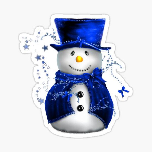 Christmas Snowman in Blue Velvet Sticker
