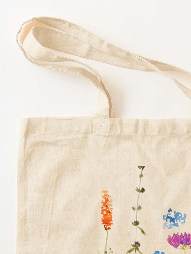 Alternate view of colorful wild flowers watercolor painting Tote Bag