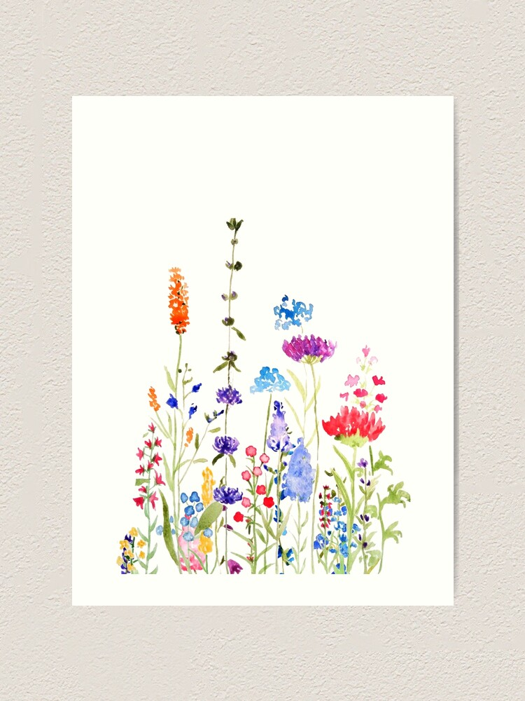 Alternate view of colorful wild flowers watercolor painting Art Print