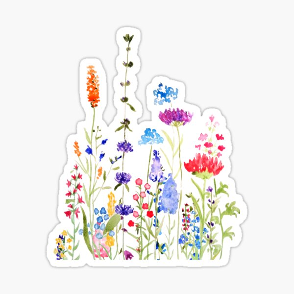 colorful wild flowers watercolor painting Sticker