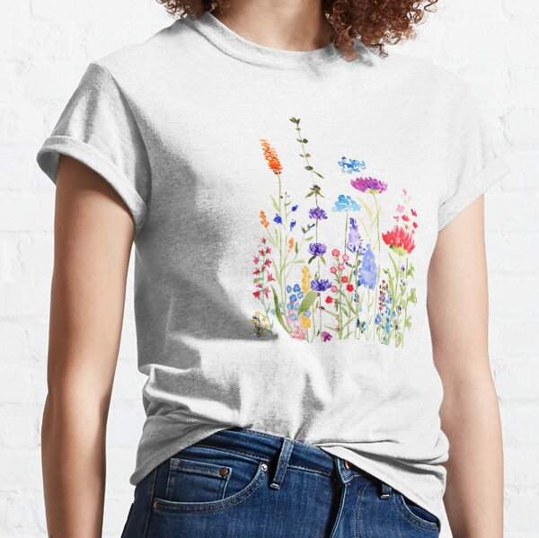 colorful wild flowers watercolor painting Classic T-Shirt