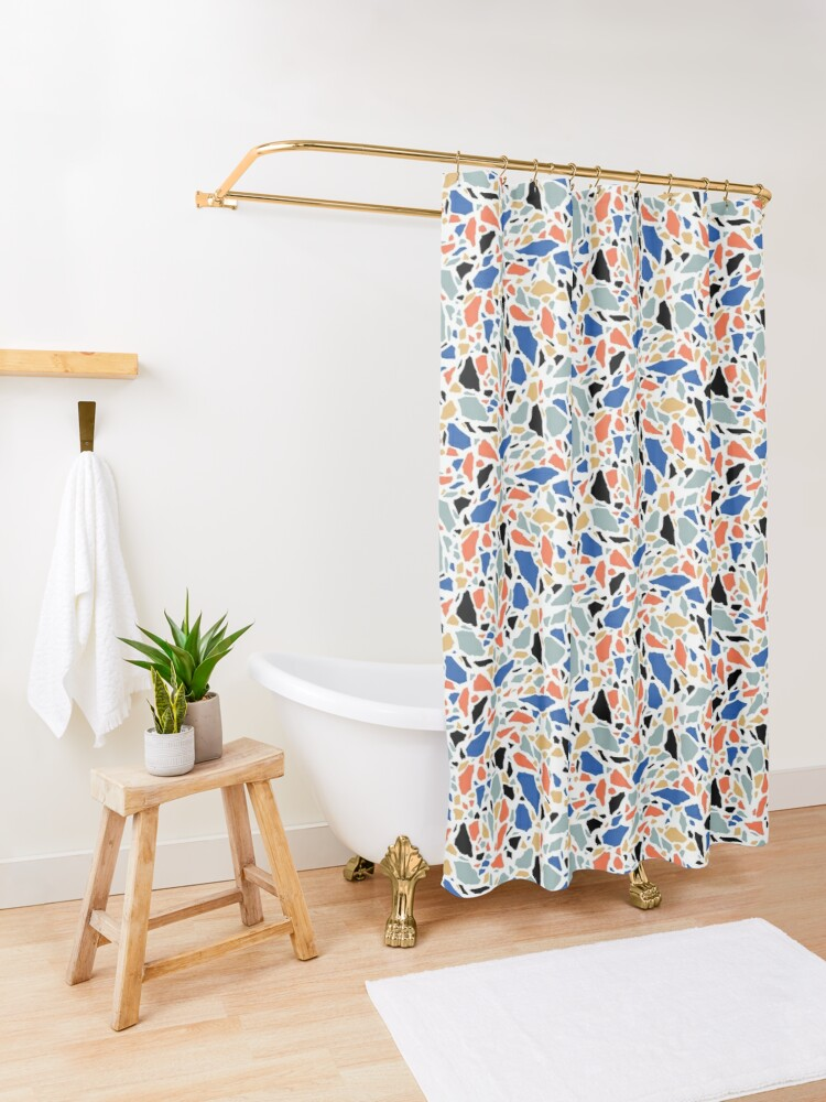 Alternate view of Terrazzo pattern in blue and salmon Shower Curtain