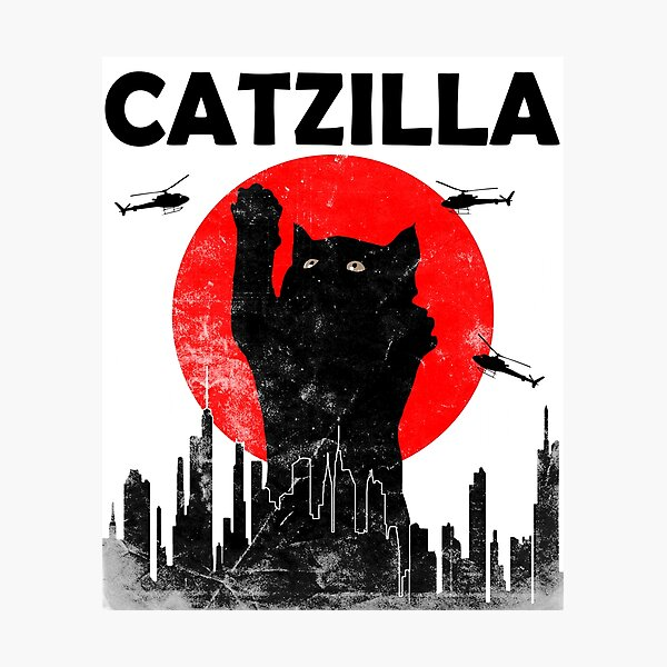 Catzilla Vintage Japanese Sunset Style Cat Kitten Lover T-Shirt Photographic Print