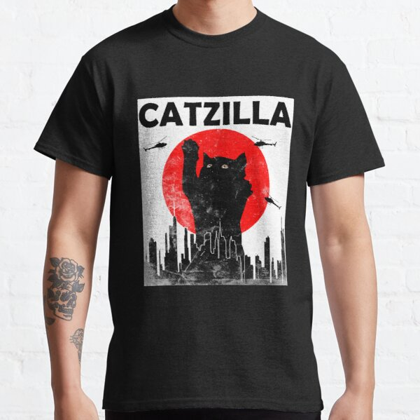 Catzilla Vintage Japanese Sunset Style Cat Kitten Lover T-Shirt Classic T-Shirt