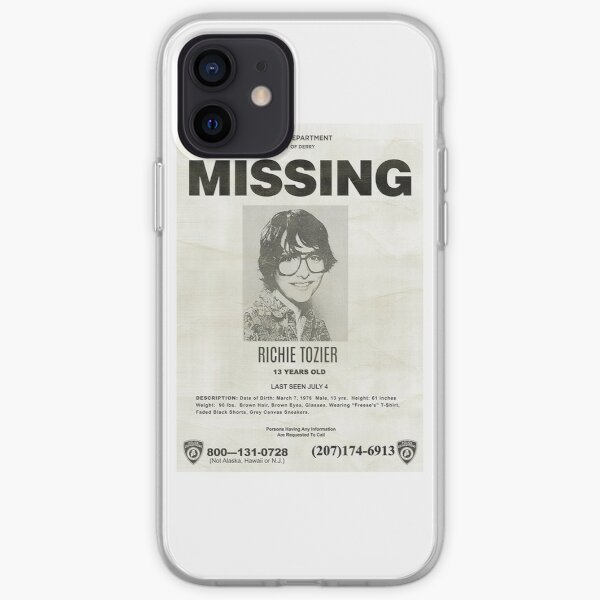IT RICHIE TOZIER FINN WOLFHARD AFFICHE MANQUANTE Coque souple iPhone
