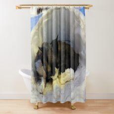 Devonshire cat asleep Shower Curtain