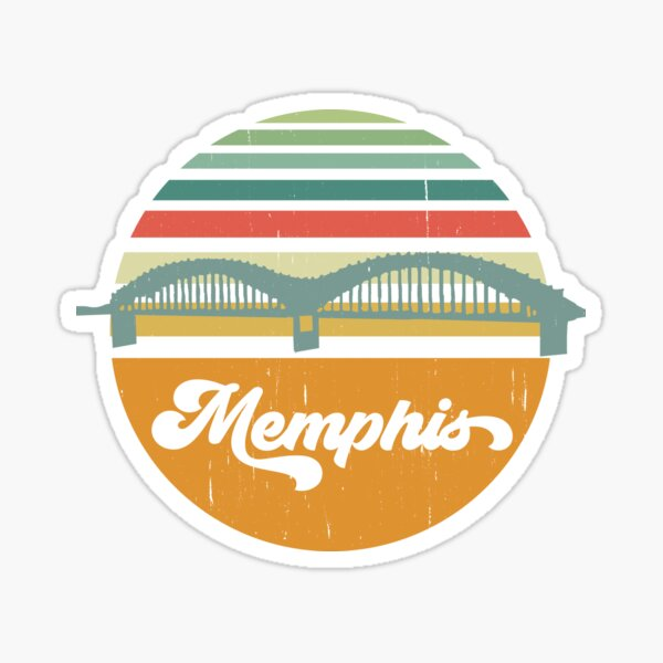 Memphis, Tennessee Sunset Souvenir, Vintage Bridge Design Sticker