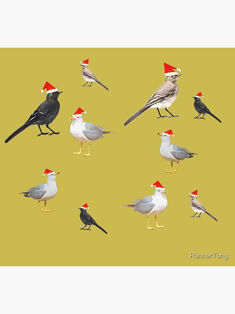 Birds having Christmas party (yellowish) by RunnerTony